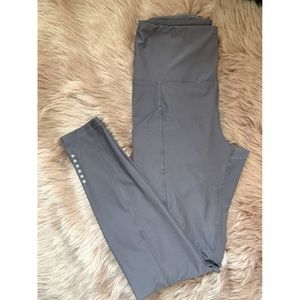 Gray Purple Spandex Athletic Leggings with Pockets